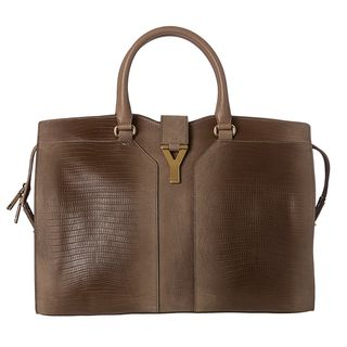Yves Saint Laurent Cabas ChYc Large Taupe Embossed Leather Tote Bag