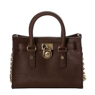 MICHAEL Michael Kors Mini Hamilton Mocha Saffiano Leather Messenger