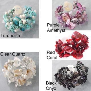 Turquoise/ Pearl/ Shell Hidden Flower Bracelet (5 8 mm) (Philippines