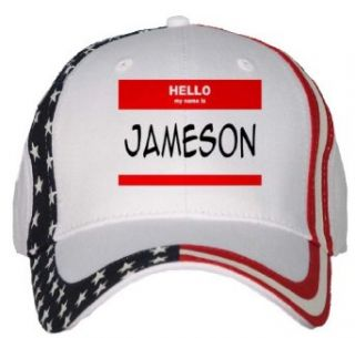 HELLO my name is JAMESON USA Flag Hat / Baseball Cap