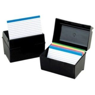 Oxford 01351 Plastic Index Card Flip Top File Box Holds 300 3 x 5
