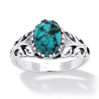 Angelina DAndrea Sterling Silver Simulated Turquoise Ring