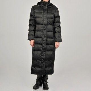 Nautica Womens Black Hooded Long Down blend Coat