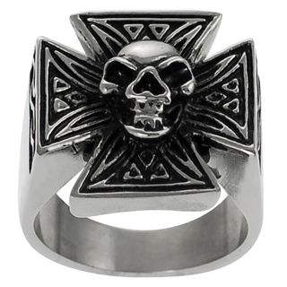 Daxx Stainless Steel Mens Pattee Cross Skull Ring