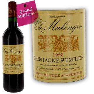 Clos Malengin Montagne Saint Emilion 1998   Achat / Vente VIN ROUGE