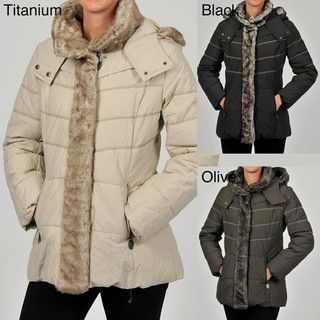 Hilary Radley Womens Contrast Stitch Metal Faille Puffer Coat