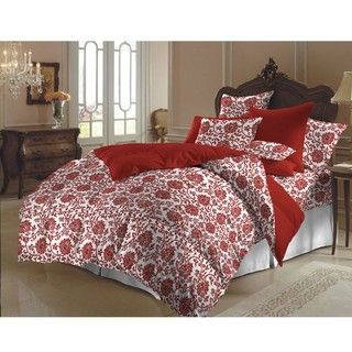 Red and White Flower Brocade Queen size Duvet Cover Set (India
