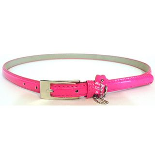 Womens Pink Patent Leather Skinny Belt