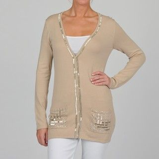 Adrienne Vittadini Womens Dark Oat Beaded Cardigan