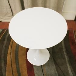 Immer White Wood and Steel Mid Century End Table