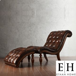ETHAN HOME Bellagio Classic Brown Bonded Leather Tufted Chaise with