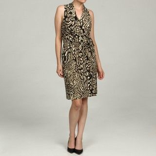 Jones New York Womens Animal Print Wrap Dress