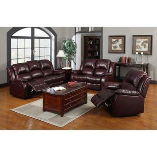 Devlin 3 piece Cabernet Bonded Leather Reclining Sofa Set