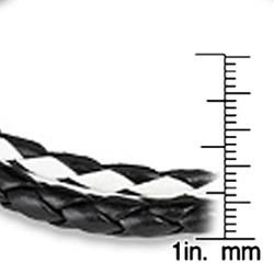 Black and White Braided Checkerboard Leather Bracelet