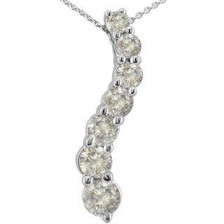 14k White Gold 1/4ct TDW Diamond Journey Pendant