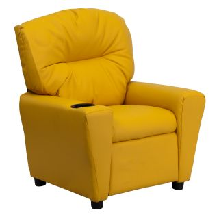 Flash Furniture Contemporary Yellow Vinyl Kids Recliner with Cup