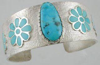 Southwestern Native American Tufa Cast Turquoise Flower