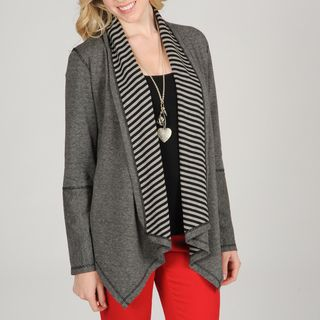Hanna & Gracie Womens Striped Cozy Cardigan with Pointed Hem