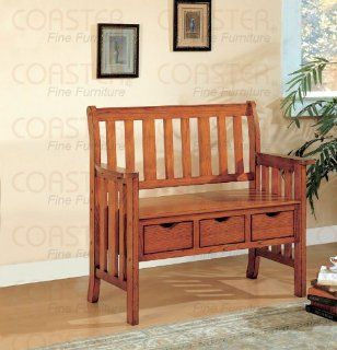 Cottage Style Brown Wooden Chair Bench w/Storage Drawer