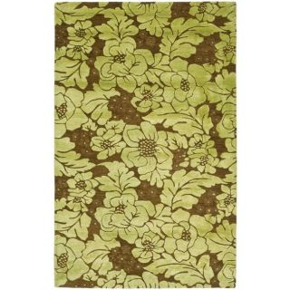 Handmade Soho Garden Lime Green/ Brown N. Z. Wool Rug (83 x 11