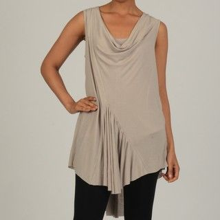 Vivienne Vivienne Tam Womens Tunic with Center Ruffle Insert