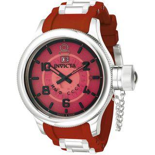 Invicta Mens Russian Diver Red Rubber Strap Watch