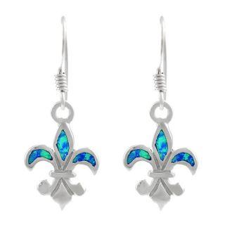 Tressa Sterling Silver Fleur de Lis Blue Opal Dangle Earrings