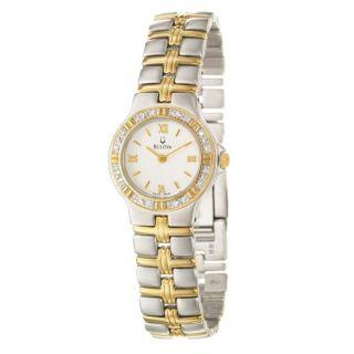 Bulova Womens Dress Two tone Steel Diamond Quartz Watch