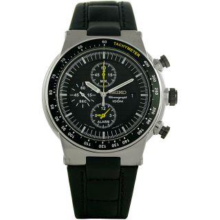 Seiko Mens Chronograph Leather Strap Watch