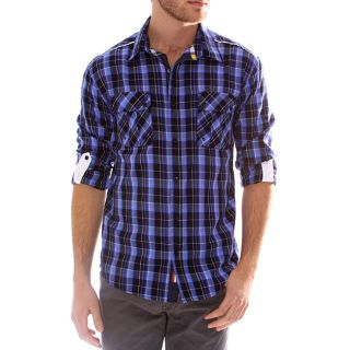 191 Unlimited Mens Blue Plaid Convertible Sleeve Shirt
