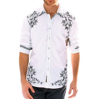 191 Unlimited Mens White Pinstripe Screen Print Shirt