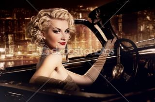 Woman in retro car against night city.  Foto Stock © Andrejs Pidjass