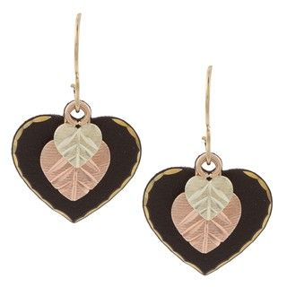 Black Hills Gold Powdercoated Heart Earrings