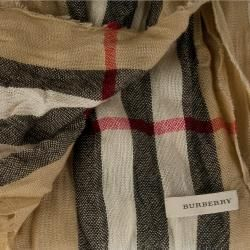 Burberry Giant Check Merino Wool  and Cashmere blend Crinkled Scarf