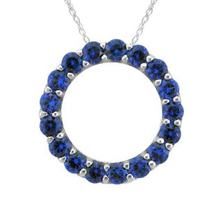 10k Gold September Birthstone Small Created Sapphire Circle Necklace