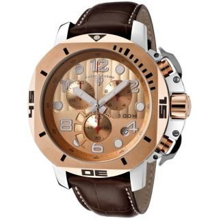 Swiss Legend Mens Scubador Brown Leather Chronograph Watch
