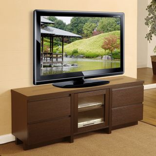 Cosmo 4 drawer Red Cocoa Wood Entertainment Center