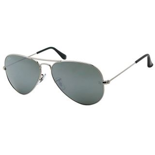 Ray Ban Womens Shiny Silver Aviator Sunglasses