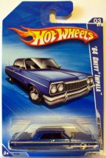 Hot Wheels 2010 161 BLUE 64 Chevy Impala Hot Auction 164