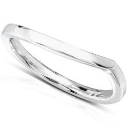 14k White Gold Contoured Wedding Band