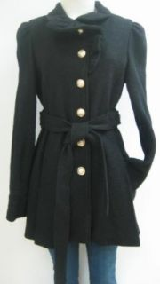 Bebe Ruffle Wool Coat, Jacket, Black, Medium, Nwt, 167bb