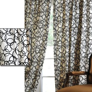 Cirque Black Printed Cotton 108 inch Curtain Panel