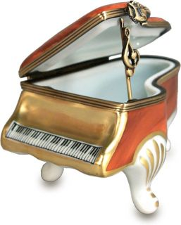 Limoges Brown Musical Theme Piano Box