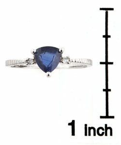 14k White Gold Diamond Blue Sapphire Ring