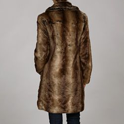 MICHAEL Michael Kors Womens Faux Beaver Fur Coat