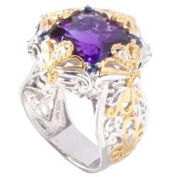 Michael Valitutti Two tone Amethyst and Blue Sapphire Ring