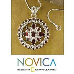 Sterling Silver Fire Star Garnet Necklace (India)