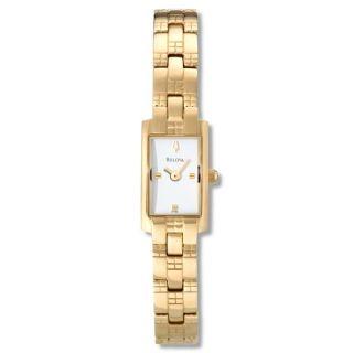 Bulova Womens Bracelet Goldplated Stainless Steel Quartz Watch