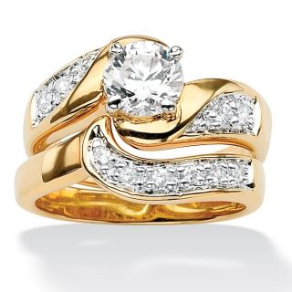 Ultimate CZ 14k Gold plated Swirled Wedding Ring Set