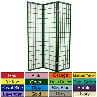 Wood and Rice Paper 6 foot 3 panel Windowpane Room Divider (China